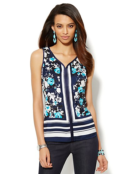 Silky Mixed-Print Sleevess Top