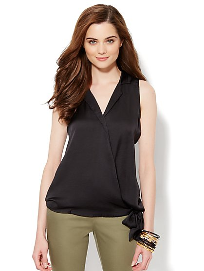 Silky Solid Faux-Wrap Shell - New York & Company