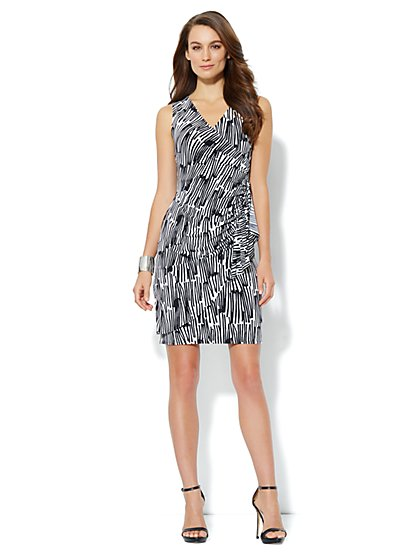 Silky Wrap Dress - Abstract Stripe
