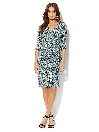 Silky Wrap Dress - Print - New York & Company