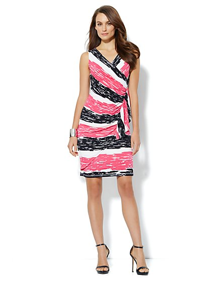 Silky Wrap Dress - Stripe