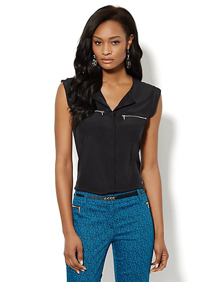 Silky Zip-Pocket Blouse