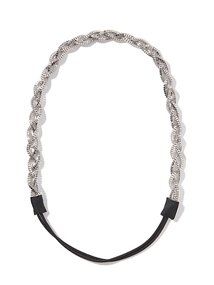 Silver Braided Stretch Headband
