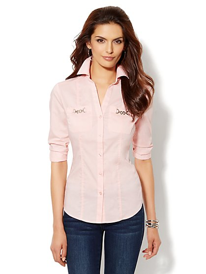 Silver Hardware Button-Front Shirt - New York & Company