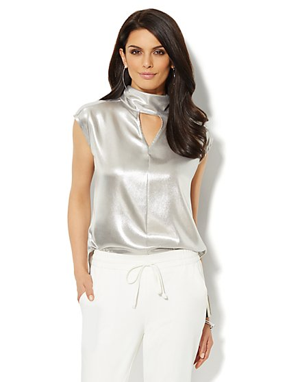 Silver Lamé Bow-Back Blouse  - New York & Company