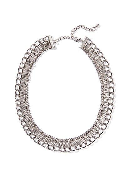 Silver Mesh & Chain Choker - New York & Company