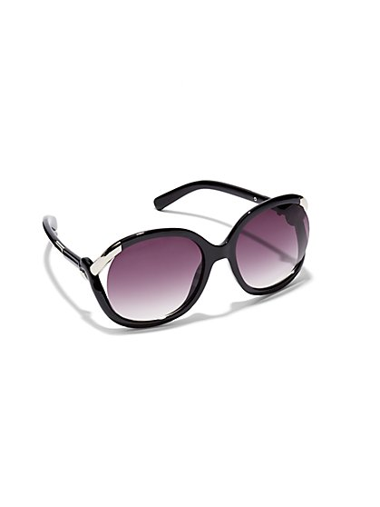 Silver-Trim Round Cut-Out Sunglasses  - New York & Company