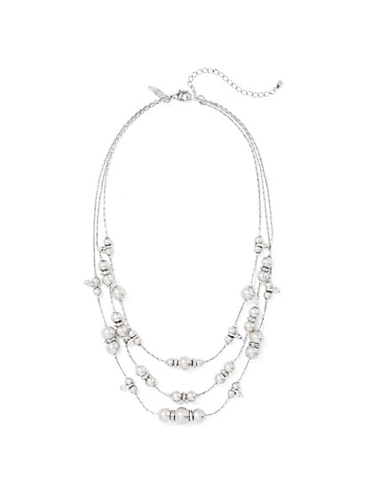 Silvertone 3-Row Beaded Necklace  - New York & Company