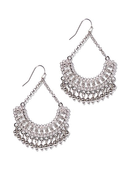 Silvertone Beaded Drop Earring  - New York & Company
