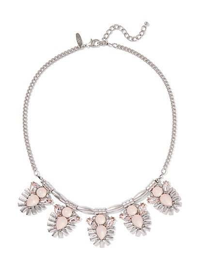 Silvertone Beaded Necklace  - New York & Company