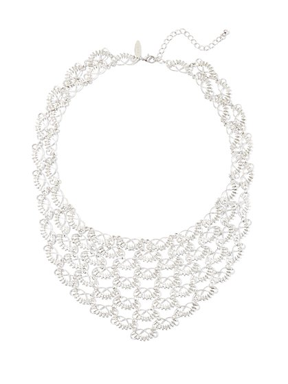 Silvertone Bib Necklace  - New York & Company