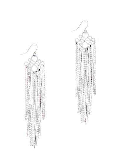 Silvertone Chain-Tassel Earring - New York & Company