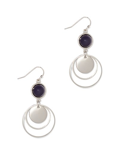 Silvertone Circular Drop Earring  - New York & Company