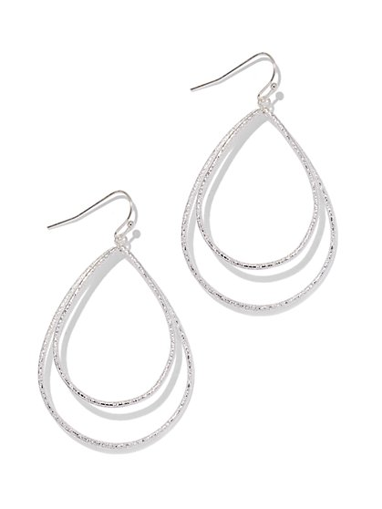 Silvertone Double-Hoop Earring  - New York & Company