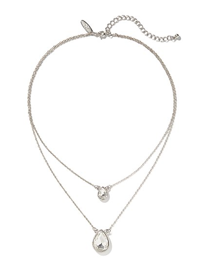 Silvertone Double-Teardrop Necklace  - New York & Company