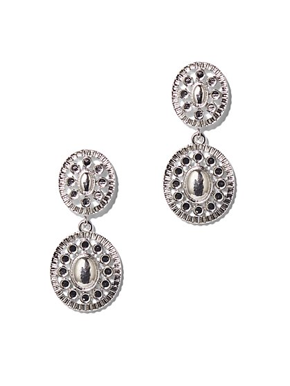 Silvertone Filigree Double-Drop Earrings  - New York & Company