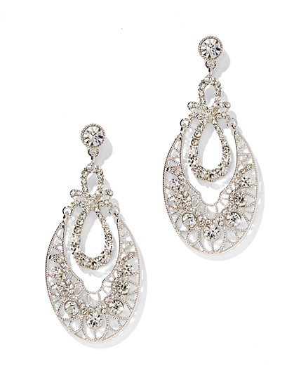 Silvertone Filigree Double-Teardrop Earring - New York & Company