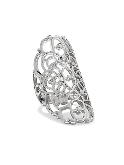 Silvertone Filigree Ring  - New York & Company