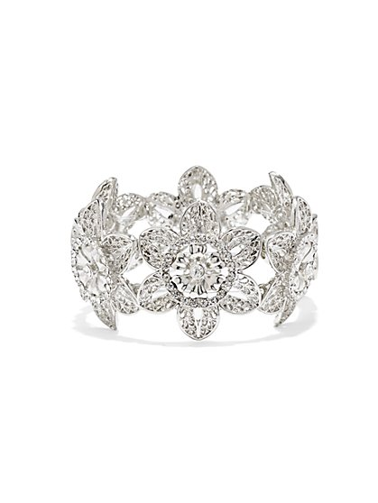 Silvertone Floral Stretch Bracelet  - New York & Company