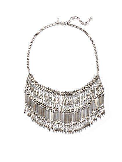 Silvertone Fringe Statement Necklace  - New York & Company