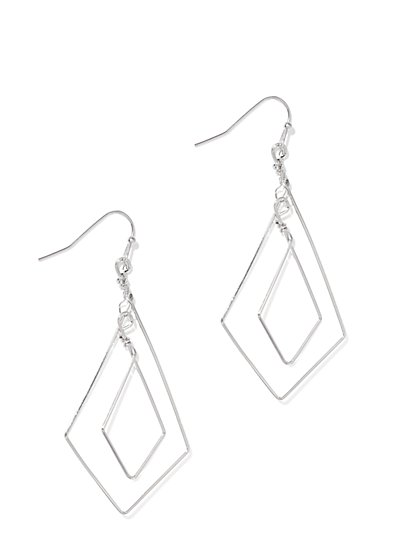 Silvertone Geo Drop Earring  - New York & Company