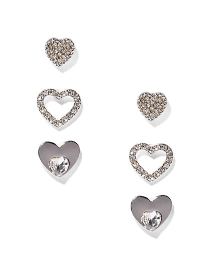 Silvertone Heart Earring Set  - New York & Company