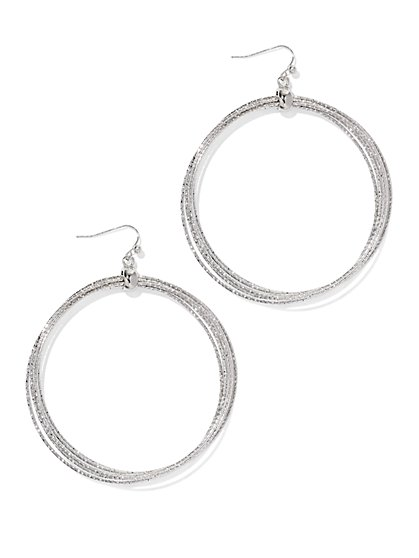 Silvertone Hoop Drop Earring  - New York & Company