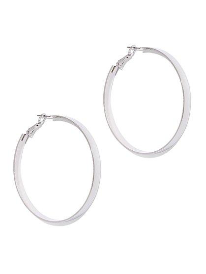 Silvertone Hoop Earring  - New York & Company