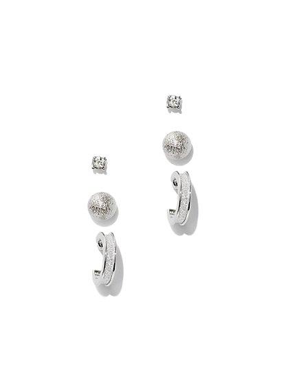 Silvertone Hoop & Post Earring Set  - New York & Company