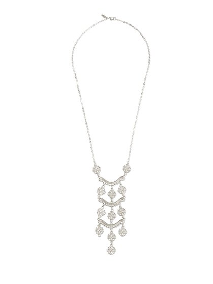 Silvertone Ladder Pendant Necklace  - New York & Company
