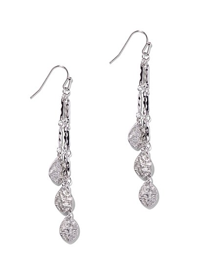 Silvertone Linear Drop Earring  - New York & Company