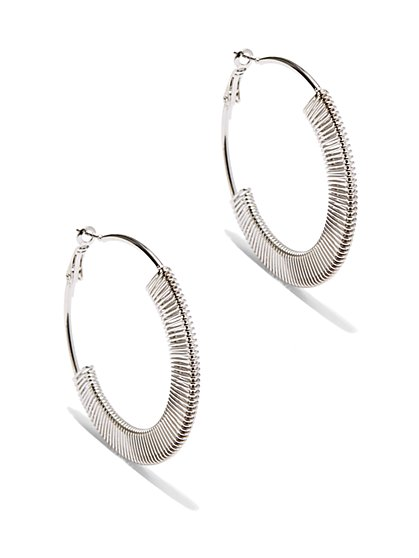 Silvertone Links Hoop Earring  - New York & Company