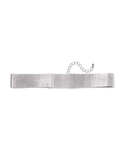Silvertone Mesh Choker Necklace  - New York & Company