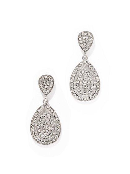 Silvertone Pavé Teardrop Earring  - New York & Company