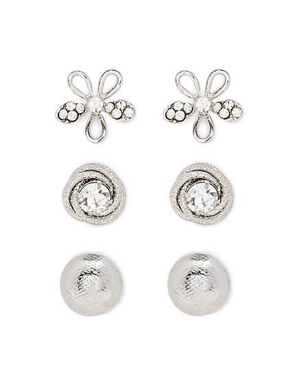 Silvertone Post Earring Set  - New York & Company