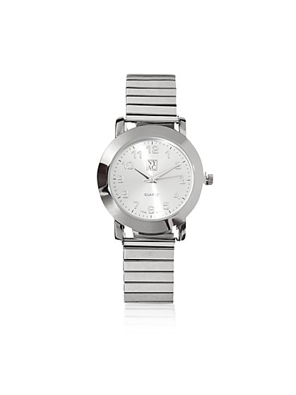 Silvertone Stretch Bracelet Watch  - New York & Company