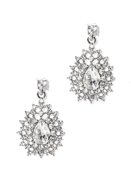 Silvertone Teardrop Earrings  - New York & Company