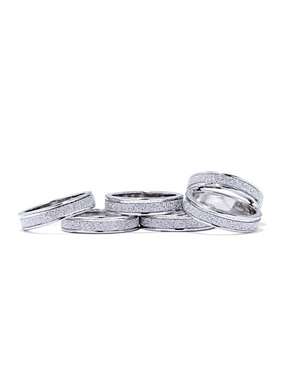 Six-Piece Silvertone Ring Set  - New York & Company