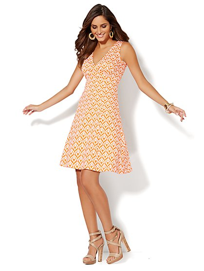 Skater Wrap Dress - Print - New York & Company