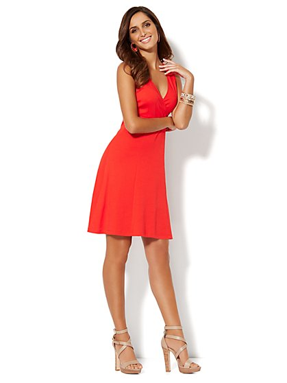 Skater Wrap Dress - Solid - New York & Company
