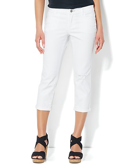 Skinny Destroyed Crop Jean - Optic White - New York & Company
