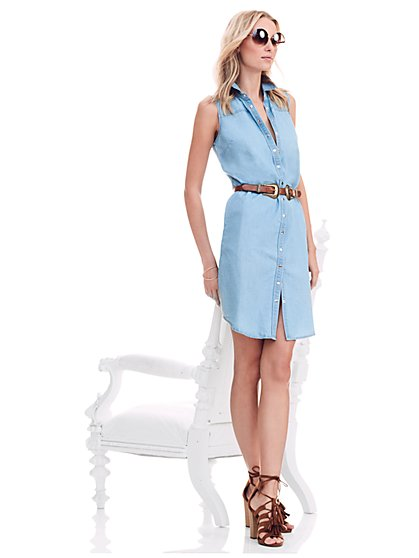 Sleeveless Belted Denim Dress - Light Blue  - New York & Company