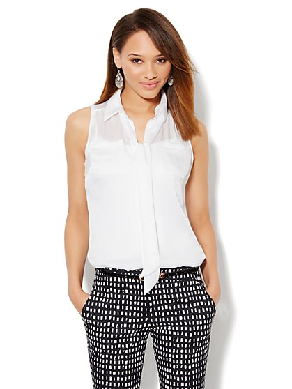 Sleeveless Bow Blouse
