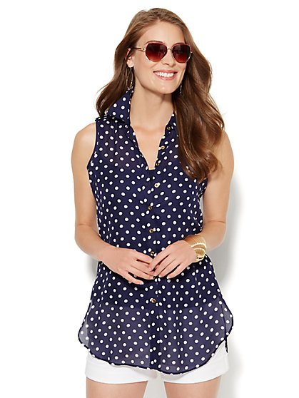 Sleeveless Button-Front Blouse - Polka Dot  - New York & Company