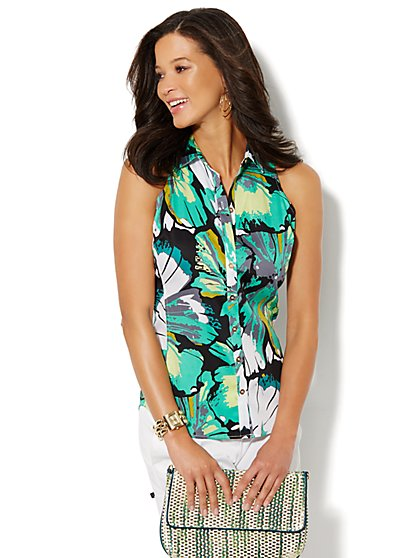 Sleeveless Button-Front Shirt  - Floral - New York & Company