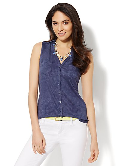 Sleeveless Button-Front Top  - New York & Company