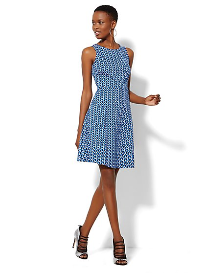 Sleeveless Cotton Flare Dress - Geo-Print - Petite - New York & Company