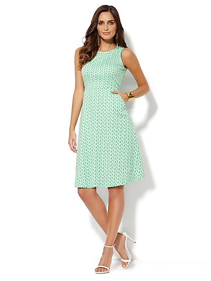 Sleeveless Cotton Flare Dress - Geo-Print  - New York & Company
