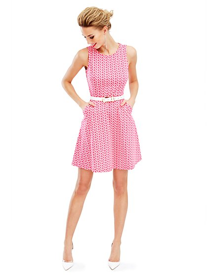 Sleeveless Cotton Flare Dress - Geo-Print  - New York & Company