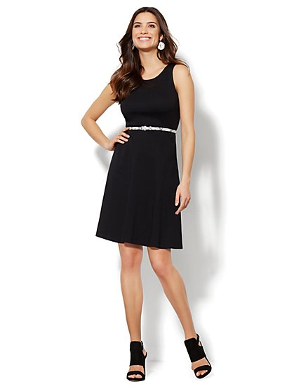 Sleeveless Cotton Flare Dress - Solid - Petite - New York & Company